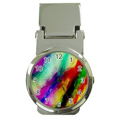 Colorful Abstract Paint Splats Background Money Clip Watches by Simbadda