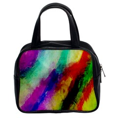 Colorful Abstract Paint Splats Background Classic Handbags (2 Sides) by Simbadda