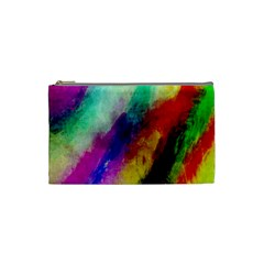 Colorful Abstract Paint Splats Background Cosmetic Bag (small)  by Simbadda