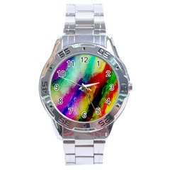 Colorful Abstract Paint Splats Background Stainless Steel Analogue Watch by Simbadda