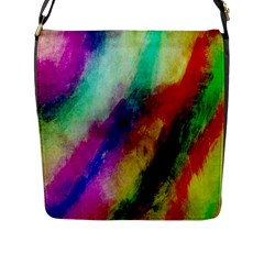 Colorful Abstract Paint Splats Background Flap Messenger Bag (l)  by Simbadda