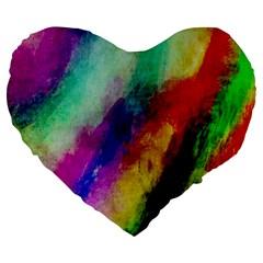 Colorful Abstract Paint Splats Background Large 19  Premium Flano Heart Shape Cushions by Simbadda