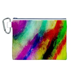Colorful Abstract Paint Splats Background Canvas Cosmetic Bag (l) by Simbadda