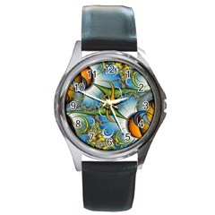 Random Fractal Background Image Round Metal Watch by Simbadda