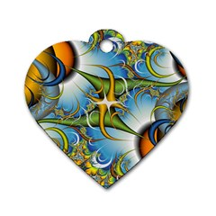 Random Fractal Background Image Dog Tag Heart (two Sides) by Simbadda