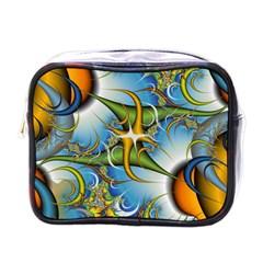 Random Fractal Background Image Mini Toiletries Bags by Simbadda