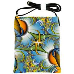 Random Fractal Background Image Shoulder Sling Bags by Simbadda