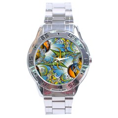 Random Fractal Background Image Stainless Steel Analogue Watch by Simbadda