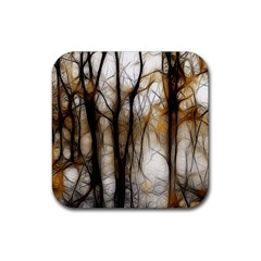 Fall Forest Artistic Background Rubber Square Coaster (4 Pack)  by Simbadda