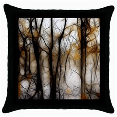Fall Forest Artistic Background Throw Pillow Case (black)