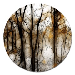 Fall Forest Artistic Background Magnet 5  (round) by Simbadda