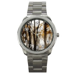 Fall Forest Artistic Background Sport Metal Watch by Simbadda