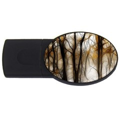 Fall Forest Artistic Background Usb Flash Drive Oval (4 Gb) by Simbadda