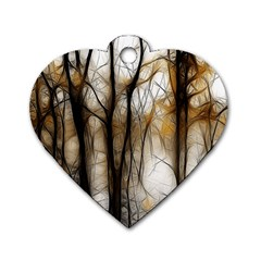 Fall Forest Artistic Background Dog Tag Heart (two Sides) by Simbadda