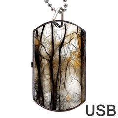Fall Forest Artistic Background Dog Tag Usb Flash (two Sides) by Simbadda