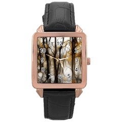 Fall Forest Artistic Background Rose Gold Leather Watch  by Simbadda