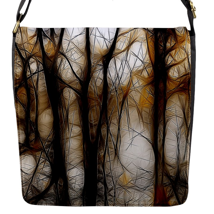 Fall Forest Artistic Background Flap Messenger Bag (S)
