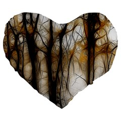 Fall Forest Artistic Background Large 19  Premium Flano Heart Shape Cushions by Simbadda