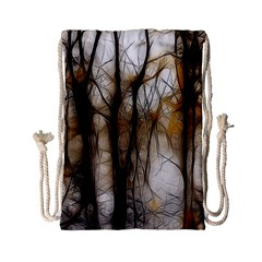 Fall Forest Artistic Background Drawstring Bag (small) by Simbadda