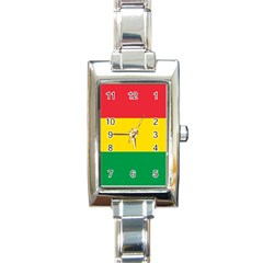 Rasta Colors Red Yellow Gld Green Stripes Pattern Ethiopia Rectangle Italian Charm Watch by yoursparklingshop