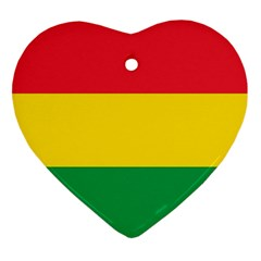 Rasta Colors Red Yellow Gld Green Stripes Pattern Ethiopia Ornament (heart) by yoursparklingshop