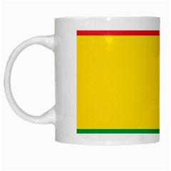 Rasta Colors Red Yellow Gld Green Stripes Pattern Ethiopia White Mugs by yoursparklingshop