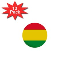 Rasta Colors Red Yellow Gld Green Stripes Pattern Ethiopia 1  Mini Buttons (10 Pack)  by yoursparklingshop