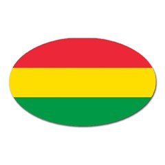 Rasta Colors Red Yellow Gld Green Stripes Pattern Ethiopia Oval Magnet by yoursparklingshop