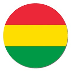 Rasta Colors Red Yellow Gld Green Stripes Pattern Ethiopia Magnet 5  (round) by yoursparklingshop