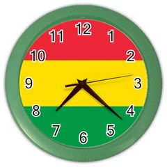 Rasta Colors Red Yellow Gld Green Stripes Pattern Ethiopia Color Wall Clocks by yoursparklingshop