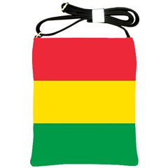 Rasta Colors Red Yellow Gld Green Stripes Pattern Ethiopia Shoulder Sling Bags by yoursparklingshop