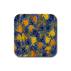 Floral Pattern Background Rubber Square Coaster (4 Pack)  by Simbadda
