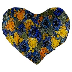 Floral Pattern Background Large 19  Premium Heart Shape Cushions by Simbadda