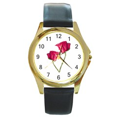 Red Roses Photo Round Gold Metal Watch by dflcprints