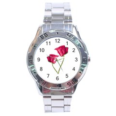 Red Roses Photo Stainless Steel Analogue Watch by dflcprints