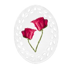 Red Roses Photo Oval Filigree Ornament (two Sides) by dflcprints