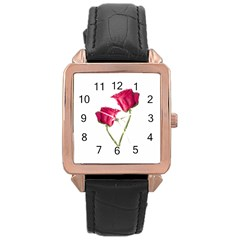 Red Roses Photo Rose Gold Leather Watch  by dflcprints