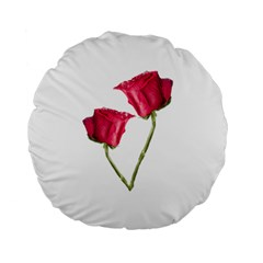 Red Roses Photo Standard 15  Premium Flano Round Cushions by dflcprints