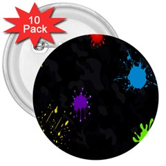 Black Camo Spot Green Red Yellow Blue Unifom Army 3  Buttons (10 Pack)  by Alisyart