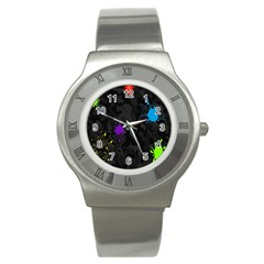 Black Camo Spot Green Red Yellow Blue Unifom Army Stainless Steel Watch by Alisyart