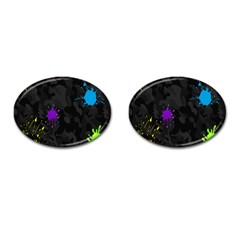 Black Camo Spot Green Red Yellow Blue Unifom Army Cufflinks (oval)