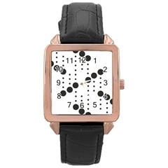 Black Circle Rose Gold Leather Watch  by Alisyart