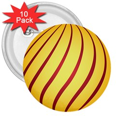 Yellow Striped Easter Egg Gold 3  Buttons (10 Pack)  by Alisyart