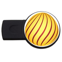 Yellow Striped Easter Egg Gold Usb Flash Drive Round (2 Gb) by Alisyart