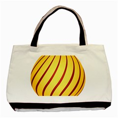Yellow Striped Easter Egg Gold Basic Tote Bag by Alisyart