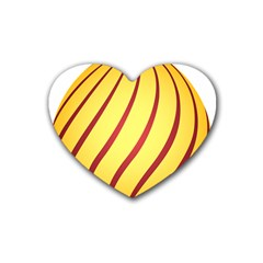 Yellow Striped Easter Egg Gold Rubber Coaster (heart)  by Alisyart