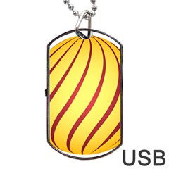 Yellow Striped Easter Egg Gold Dog Tag Usb Flash (one Side) by Alisyart