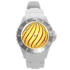 Yellow Striped Easter Egg Gold Round Plastic Sport Watch (l) by Alisyart