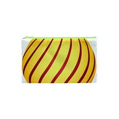 Yellow Striped Easter Egg Gold Cosmetic Bag (xs) by Alisyart