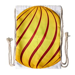 Yellow Striped Easter Egg Gold Drawstring Bag (large) by Alisyart